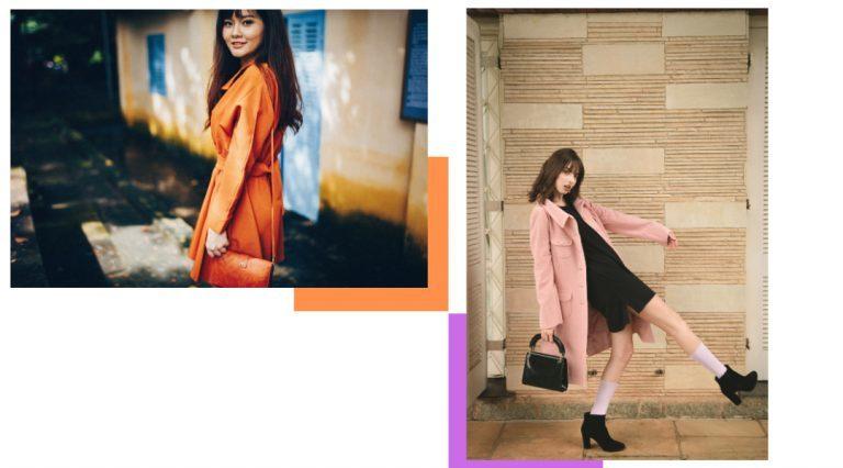 Ragazza con cappotto arancione e ragazza con cappotto rosa