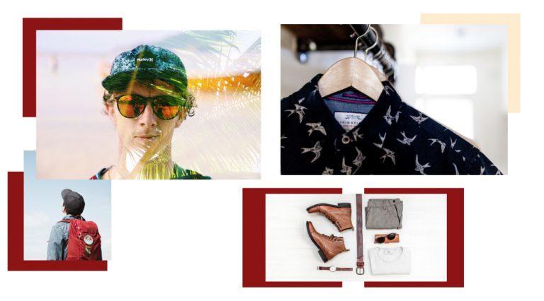 Ragazzo con zaino e cappellino, ragazzo con cappellino e occhiali da sole, camicie su stampelle e scarpe, cintura, t-shirt bianca e occhiali nero