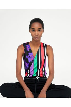 Zara BODYSUIT WITH CONTRASTING STRIPED AND FLORAL PRINT