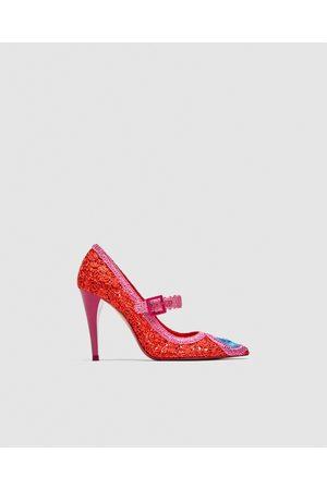 Zara CROCHET HIGH-HEEL COURT SHOES