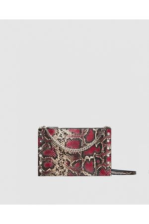 Zara PRINTED LEATHER CROSSBODY-CLUTCH BAG