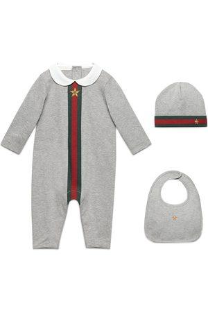 Gucci Baby Bodysuits - Baby Web print three-piece gift set