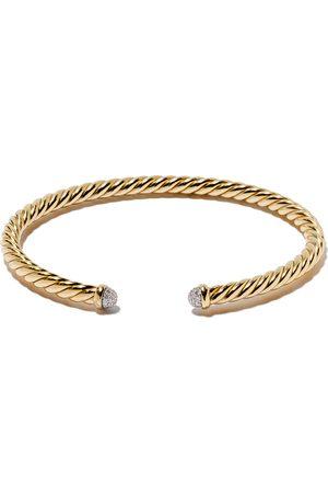 David Yurman 18kt yellow gold Cable Spira diamond cuff bracelet