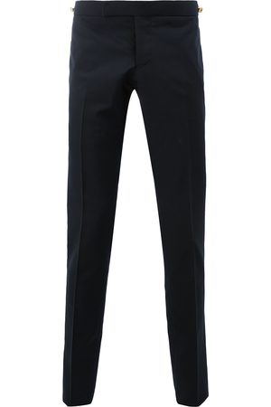 Thom Browne Low Rise Skinny Trouser With Red, White And Selvedge Back Leg Placement In School Uniform Plain Weave