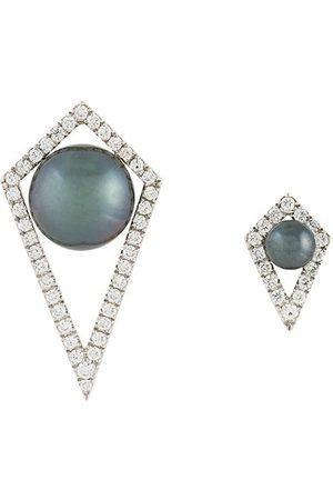 ELISE DRAY Small and large diamond moon earrings
