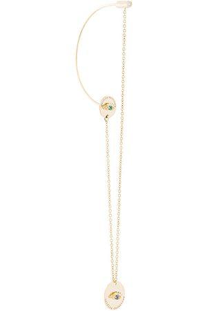 DELFINA DELETTREZ 18kt gold and diamond big sliding medal earring
