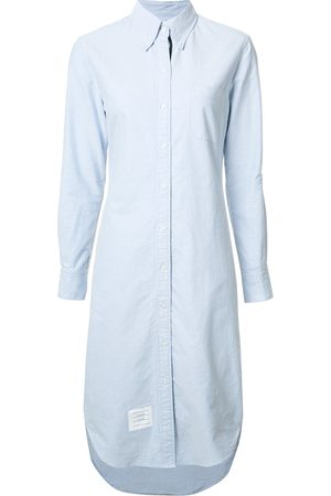 Thom Browne Button Down Knee Length Shirt Dress with Grosgrain Placket
