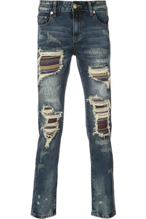 God's Masterful Children Soto stripe panel distressed jeans