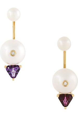 DELFINA DELETTREZ Women Earrings - 18kt gold Trillion diamond, pearl and topaz earrings