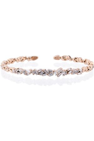 Suzanne Kalan 18K Rose Gold and diamond Fireworks ZigZag Baguette Bangle