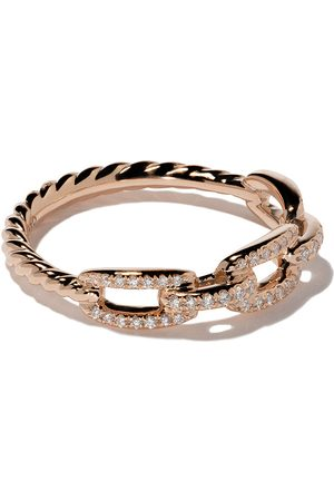 David Yurman 18kt rose gold Stax single row pavé diamond chain link ring