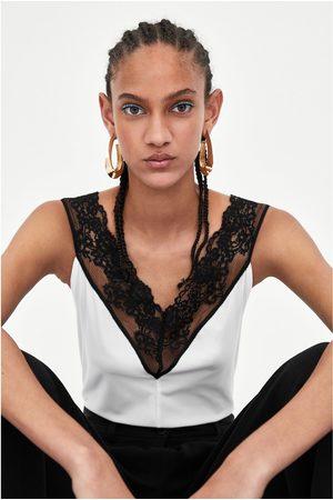 Zara Women Bodies - RIBBED BODYSUIT WITH LACE TRIM