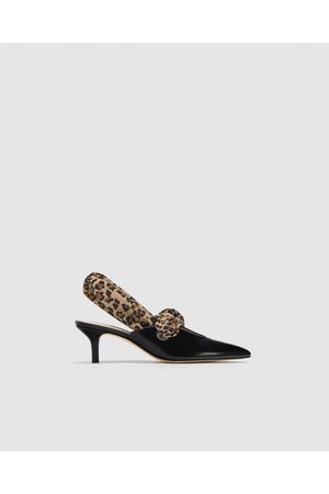Zara LEATHER HIGH-HEEL COURT SHOES WITH SCARF DETAIL