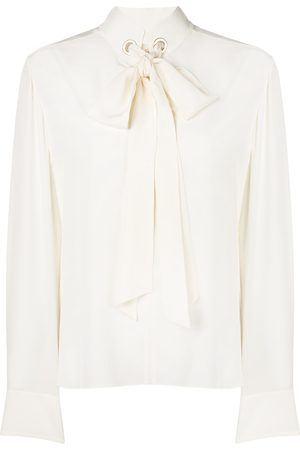 Chloé Grommet-collar tie-neck blouse