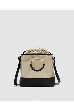 Zara VINYL TOTE WITH INTERIOR BAG