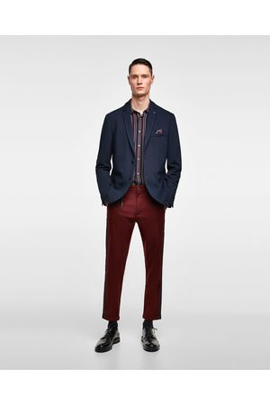 Zara TEXTURED WEAVE BLAZER WITH POCKET SQUARE
