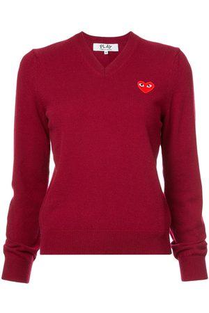 Comme des Garçons V-neck heart embroidered sweater