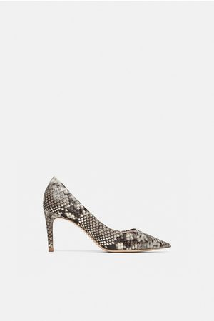 Zara SNAKESKIN PRINT LEATHER HIGH-HEEL COURT SHOES