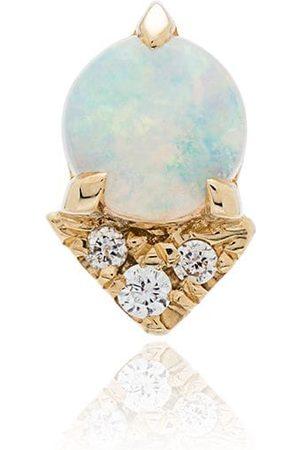 Lizzie Mandler Yellow gold opal diamond earrings