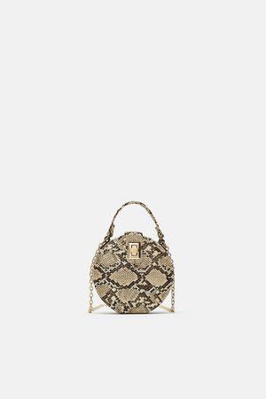 Zara Women Shoulder Bags - ROUND SNAKESKIN PRINT CROSSBODY BAG