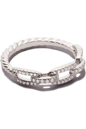 David Yurman 18kt white gold Stax single row pavé diamond chain link ring
