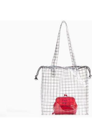 Zara CHECKED VINYL TOTE BAG