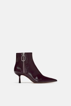 Zara HIGH HEEL FAUX PATENT ANKLE BOOTS