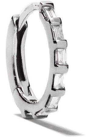 Stone 18kt Tiny Hoop baguette diamond earring