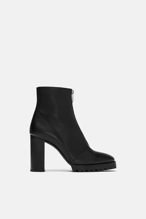 Zara Ankle Boots - LEATHER TRACK SOLE ANKLE BOOTS