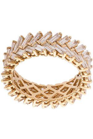 Anita 18kt yellow diamond baguette double row ring