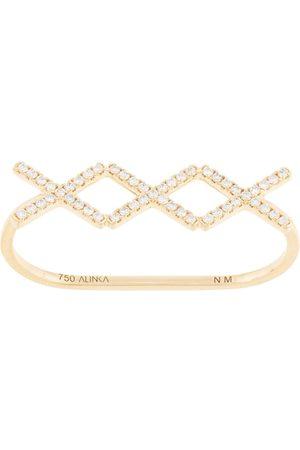 ALINKA 18kt yellow KATIA TRIO diamond two-finger ring