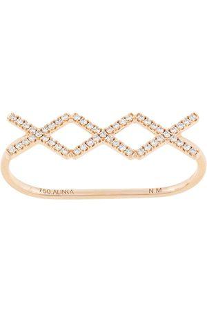 ALINKA 18kt rose KATIA TRIO diamond two-finger ring