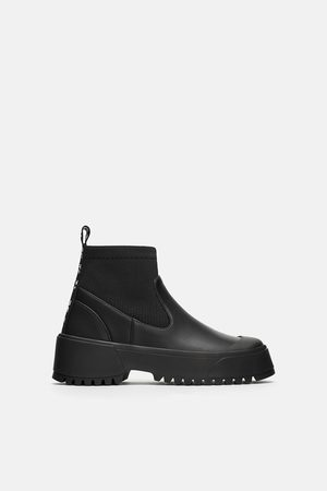 Zara TRACK SOLE SOCK-STYLE FLAT ANKLE BOOTS