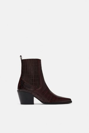 Zara Mock croc print leather ankle boots