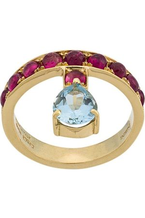 Dubini 18kt yellow , aquamarine and rubellite Theodora ring