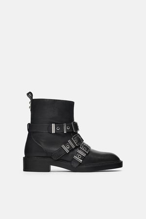 Zara LINED LEATHER BIKER ANKLE BOOTS WITH STRAPS