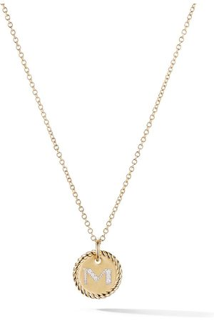 David Yurman 18kt yellow gold Cable Collectibles diamond M initial pendant necklace