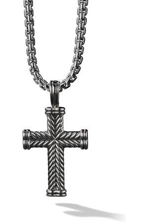 David Yurman Silver Chevron Cross Enhancer pendant