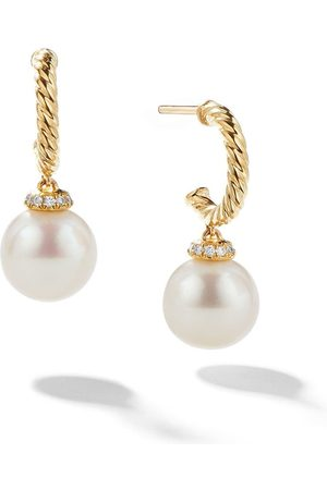David Yurman 18kt yellow gold Solari drop pearl and diamond hoop earrings