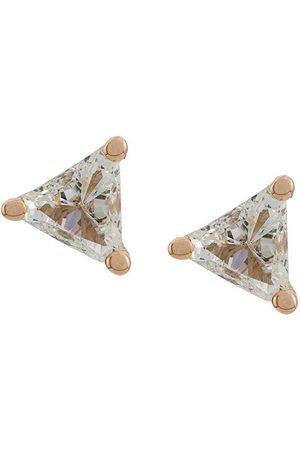 DELFINA DELETTREZ Women Earrings - 18kt champagne Dots Solitaire trillion diamond stud earrings