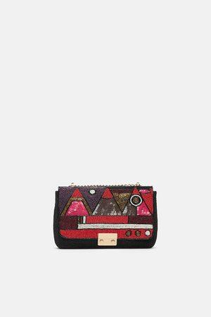 Zara Women Shoulder Bags - BEADED CROSSBODY BAG WITH METAL CLASP