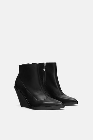 Zara LEATHER WEDGE ANKLE BOOTS