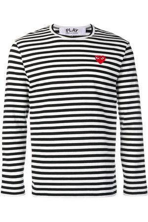 Comme des Garçons Heart patch striped sweatshirt