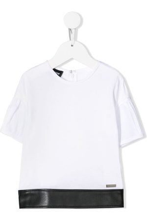 Dsquared2 Faux leather trimmed T-shirt