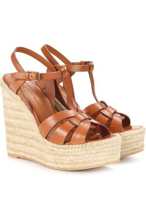 Saint Laurent Tribute leather wedge espadrille sandals