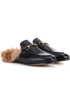 Gucci Princetown shearling leather slippers