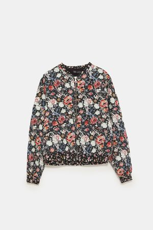 Zara PRINTED QUILTED BOMBER JACKET