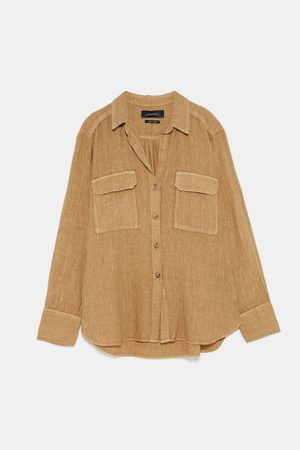 Zara LINEN SHIRT WITH POCKETS