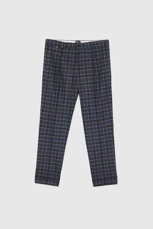 Zara CHECK DARTED TROUSERS