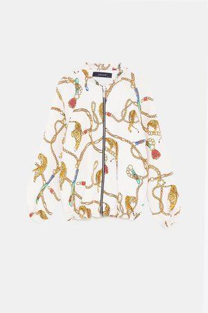 Zara CHAIN PRINT BOMBER JACKET